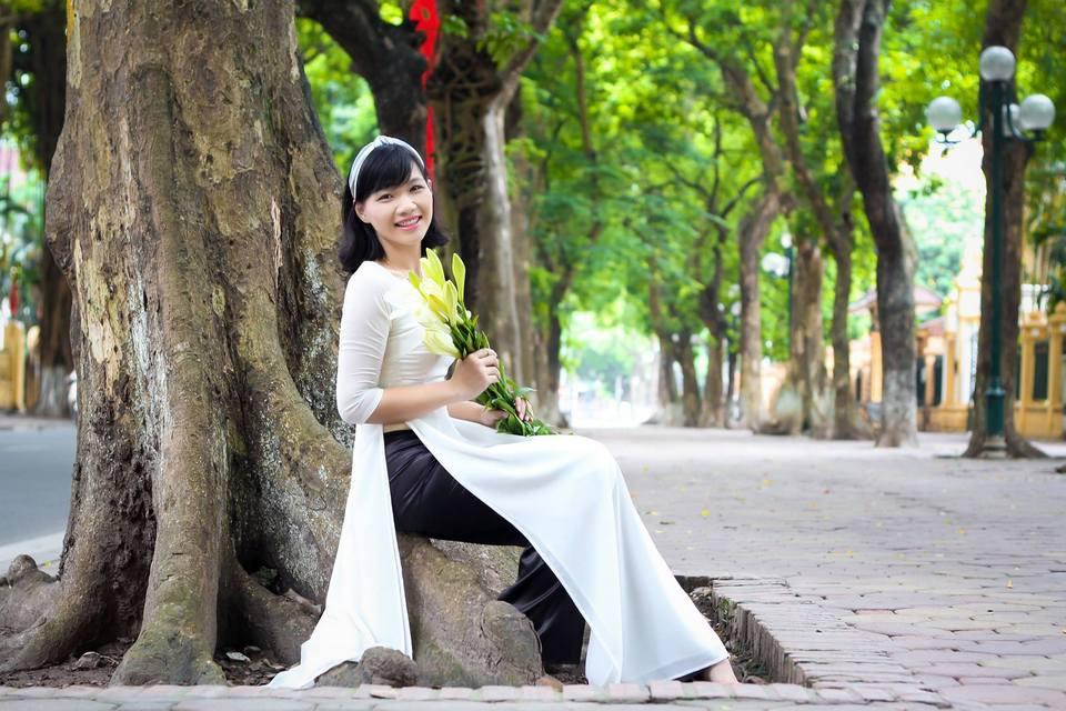 chụp ảnh áo dài trắng